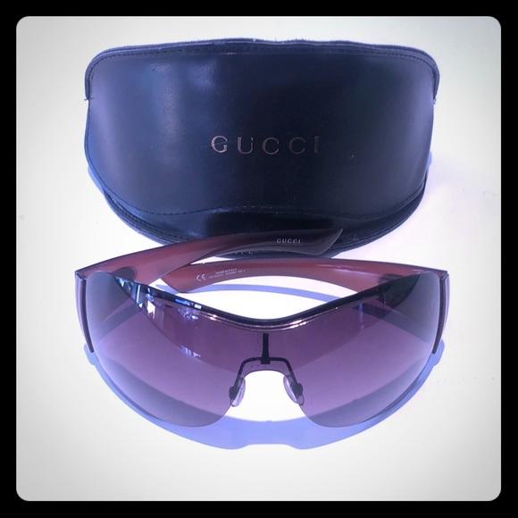 Gucci women's shield sunglasses brown / pink